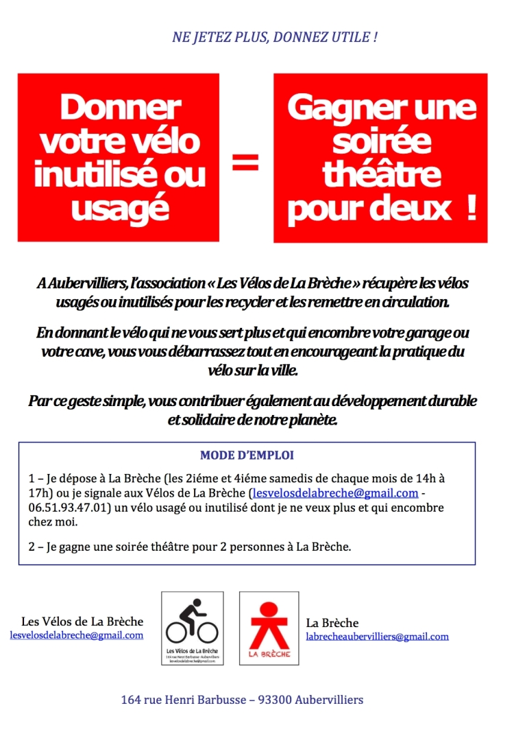 Tract recyclage vélo