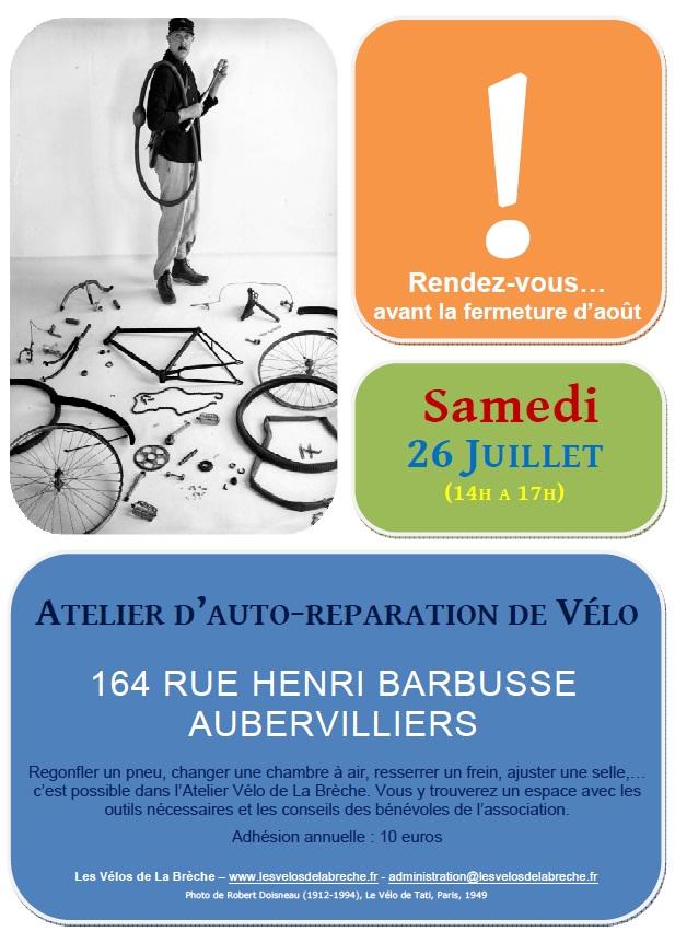 Affiche Atelier Vélo 26 Juillet 2014