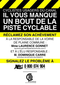 Affiche aménagement cyclable canal Aubervilliers