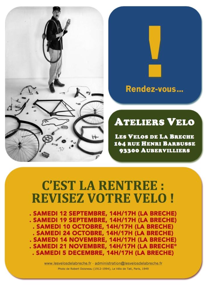 Affiche Atelier Vélo septembre-décembre 2015